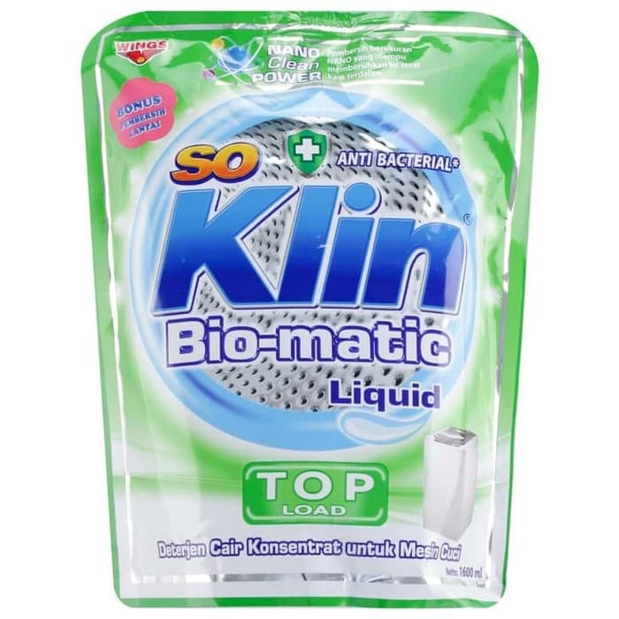 So Klin Deterjen Detergen Cair Bio Matic Liquid Top Load Anti-bacterial Kemasan Refill 1.6kg FREE SOKLIN LANTAI 400ML